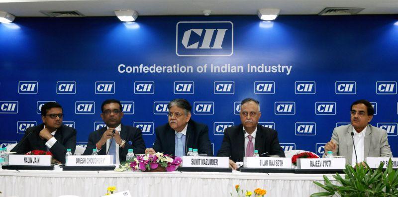 New Delhi: Industrialists address a press conference regarding Railway Budget 2015-16 at CII in New Delhi, on Feb 26, 2015.