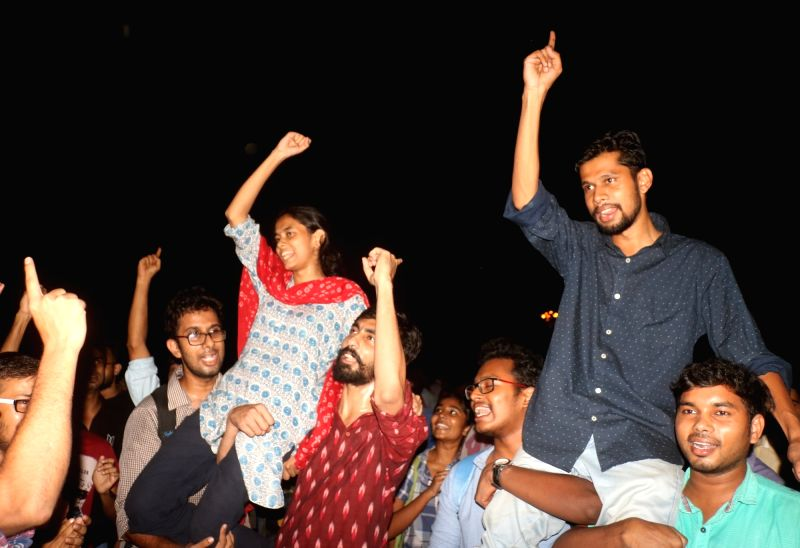 New Delhi: Newly elected JNU student union office bearers President Aishe Ghosh and Vice President Saket Moon celebrate after the announcement of the results of JNUSU at Jawaharlal Nehru University in New Delhi on Sep 17, 2019. (Photo: IANS)