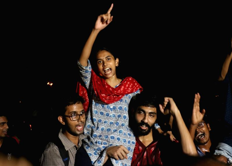 New Delhi: Newly elected JNU student union office bearers President Aishe Ghosh celebrates after the announcement of the results of JNUSU at Jawaharlal Nehru University in New Delhi on Sep 17, 2019. (Photo: IANS)