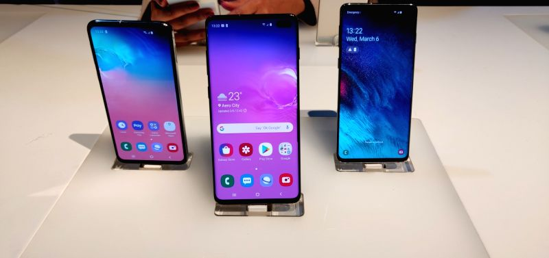 Newly launched Samsung Galaxy S10, S10+ and S10e smartphones in New Delhi
