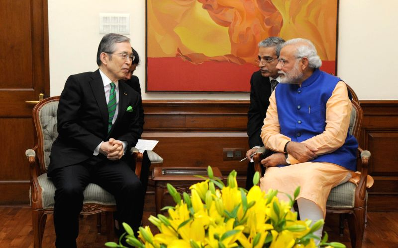 NIDEC Corporation president and CEO Shigenobu Nagamori calls on Prime Minister Narendra Modi, in New Delhi on Feb 17, 2015. - Narendra Modi
