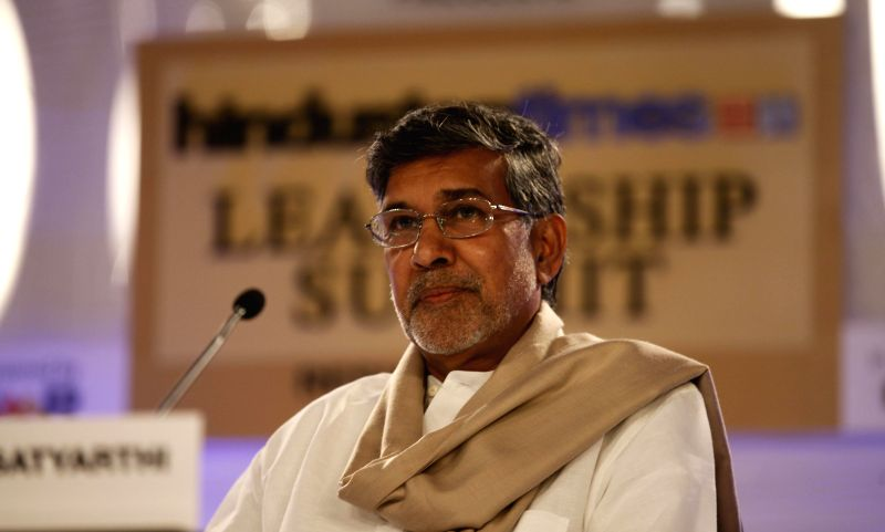 Nobel peace laureate Kailash Satyarthi addresses at the Hindustan Times Leadership Summit in New Delhi on Nov. 21, 2014. - Kailash Satyarthi