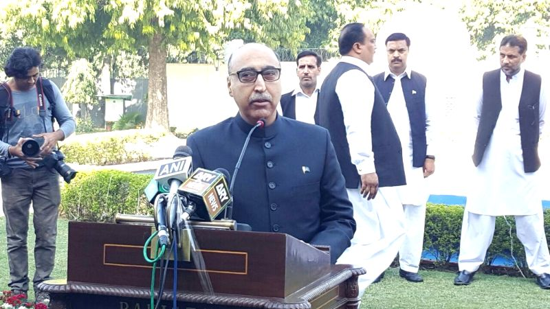 New Delhi: Pakistan envoy Abdul Basit addresses during a programme organised on Pakistan Day at Pakistan High Commission in New Delhi, on March 23, 2016.