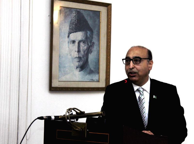 Pakistan High Commissioner to India Abdul Basit addresses students from  both India and Pakistan during a programme organised at the Pakistan High Commission in New Delhi, on Feb 12, 2015.