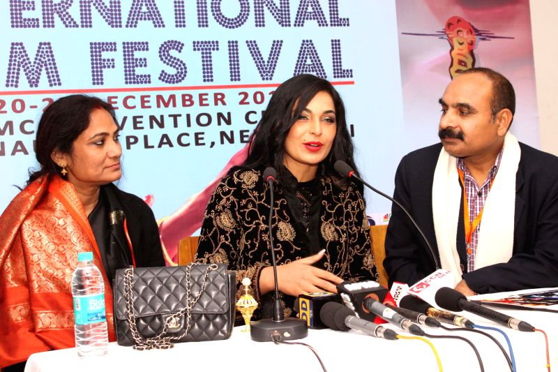 Pakistani actress Meera Ali during a press conference to promote her upcoming film `HOTAL` in New Delhi, on Dec 26, 2014.
