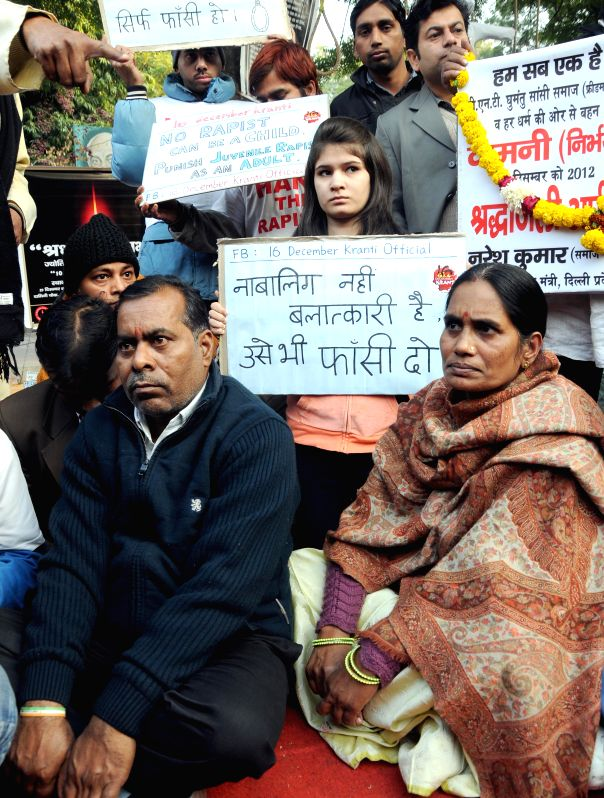 Parents of Nirbhaya and other social activists stage a demonstration against crime against women at Jantar Mantar in New Delhi, on Dec 29, 2014.
