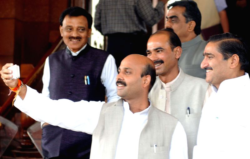Parliamentarians at the Parliament in New Delhi, on Nov 27, 2014.