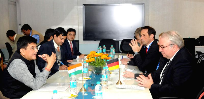 Parliamentary State Secretary of Germany Uwe Backmeyer meets the Minister of State (Independent Charge) for Power, Coal and New and Renewable Energy Piyush Goyal, in New Delhi on Feb 12, ..