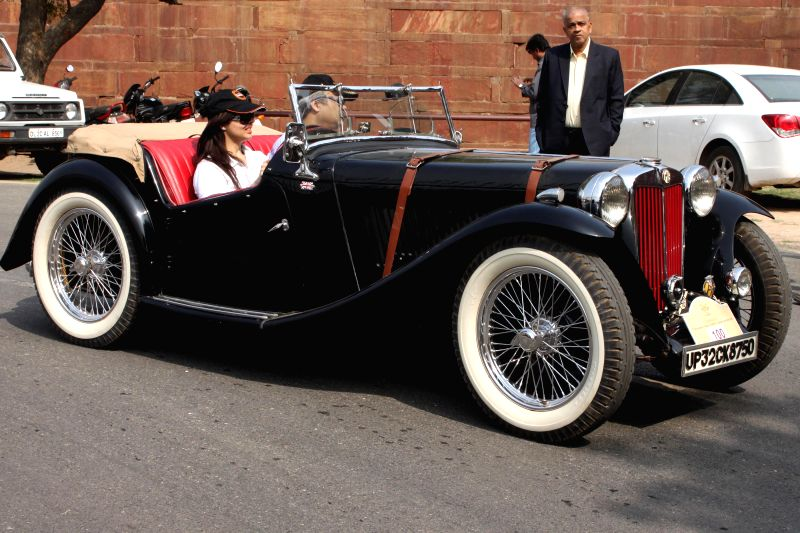 Participants during the 21 Gun Salute International Vintage Car Rally at Red Fort, New Delhi on Feb. 21, 2015.