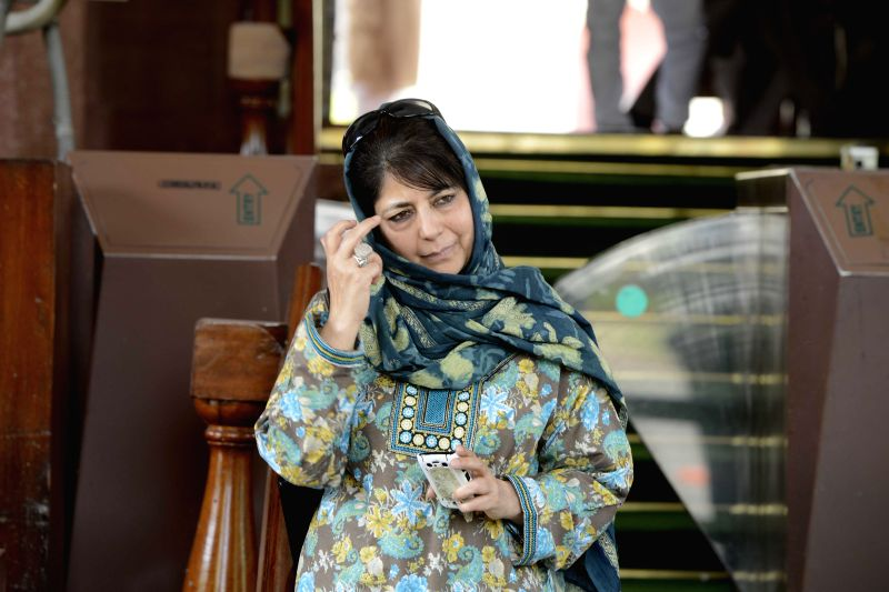 PDP chief Mehbooba Mufti Sayeed at the Parliament in New Delhi, on April 27, 2015.