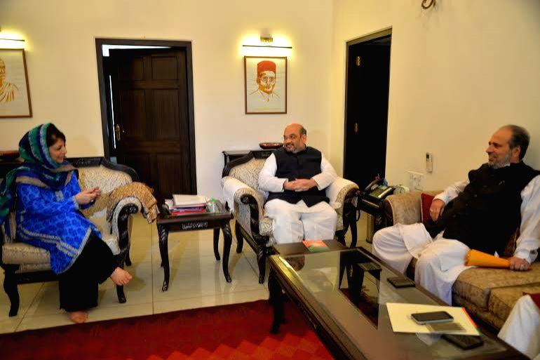 PDP leader Mehbooba Mufti during a meting with BJP chief Amit Shah regarding government formation in  Jammu and Kashmir, in New Delhi, on Feb 24, 2015.