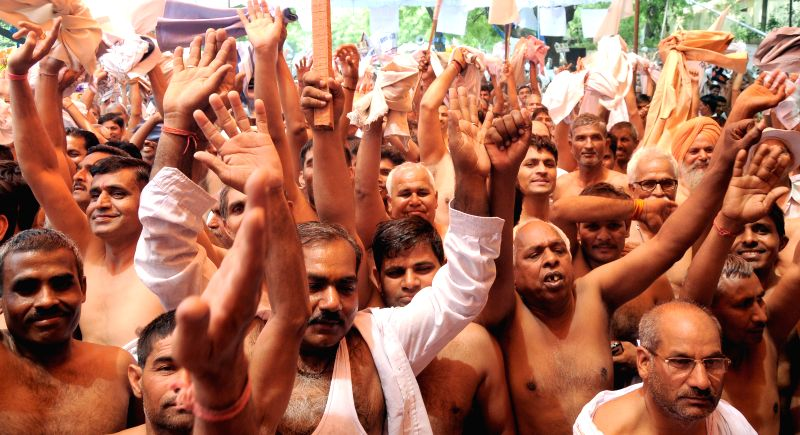 People belonging to Other Backward Class (OBC) stage a demonstration at Jantar Manatar in New Delhi, on May 7, 2015.