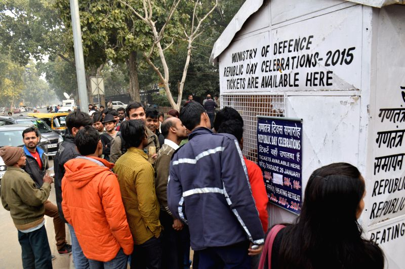 People buy tickets for Republic Day Celebrations - 2015 from a stall setup by the Defence Ministry in New Delhi, on Jan 20, 2015.