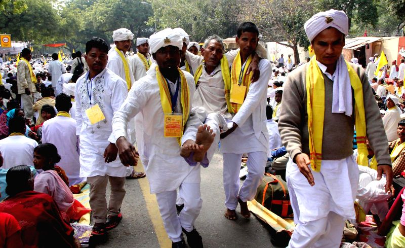 People from Cooch Behar stage a demonstration at Jantar Mantar to press for a separate state, in New Delhi, on March 11, 2015. Cooch Behar is presently a part of West Bengal.