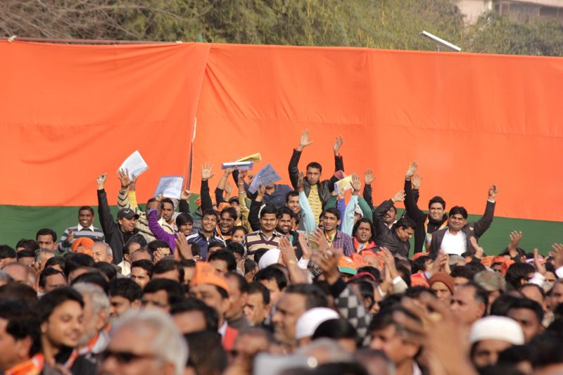 People participate in a BJP rally in New Delhi, on Jan 25, 2015.