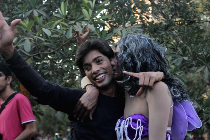 People participate in Delhi Queer Pride Parade on Nov 30, 2014.
