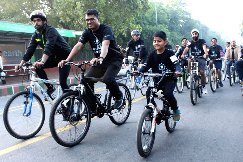 People participate in `Pedal for the Planet 2015` in New Delhi, on March 21, 2015.