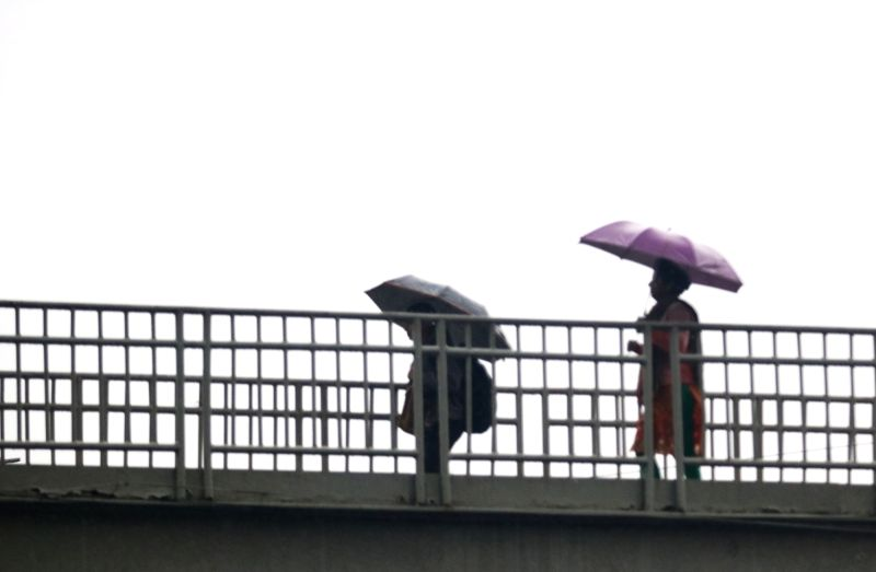 People shield themselves with umbrellas during rains in New Delhi