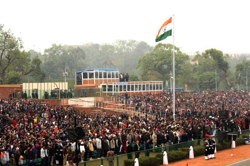 People witness the full dress rehearsals for Republic Day Parade 2015 at Rajpath in New Delhi, on Jan 23, 2015.