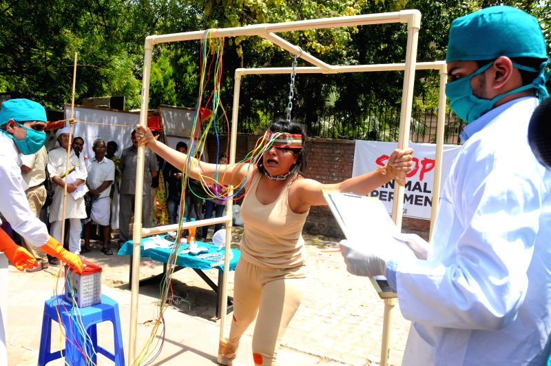 PETA activists stage a demonstration against scientific experiments on animals in New Delhi, on April 23, 2015.