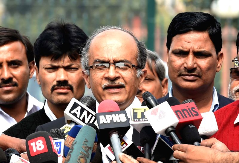 Prashant Bhushan, the lawyer of social activist Teesta Setalvad talks to press in front of the Supreme Court of India in New Delhi, on Feb 19, 2015.