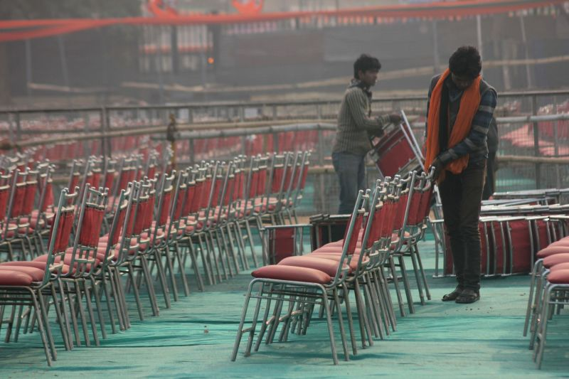 Preparations for BJP rally to celebrate party's success in the recently concluded assembly polls in Jharkhand and Jammu and Kashmir underway at Ramlila Maidan in New Delhi on Jan 9, 2015.