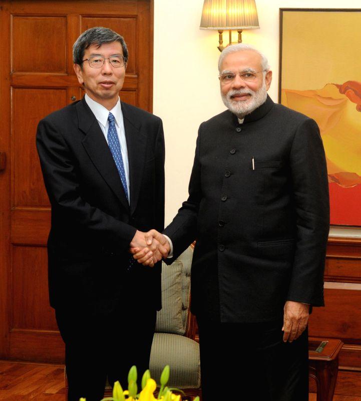 President Asian Development Bank, Takehiko Nakao calls on the Prime Minister Narendra Modi, in New Delhi on Feb 5, 2015. - Narendra Modi