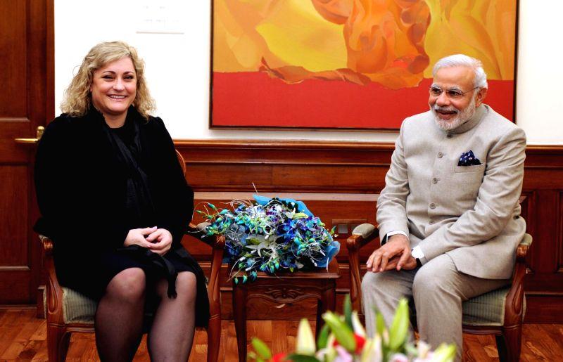 President, Intel Corporation Renee James calls on the Prime Minister Narendra Modi, in New Delhi, on Feb 3, 2015. - Narendra Modi