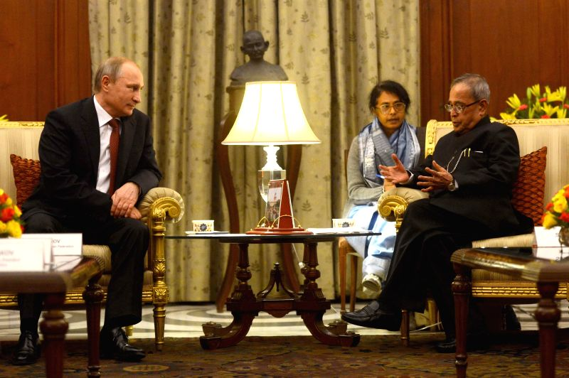 President of Russian Federation Vladimir Putin calls on President Pranab Mukherjee at Rashtrapati Bhavan in New Delhi, on Dec 11, 2014. - Pranab Mukherjee
