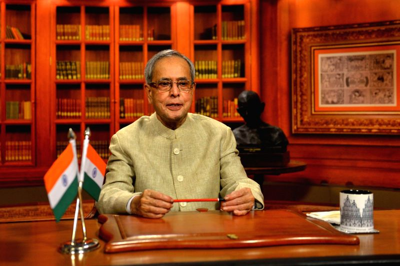 President Pranab Mukherjee addresses the nation on the eve of Republic Day from Rashtrapati Bhavan in New Delhi, on Jan 25, 2015. - Pranab Mukherjee