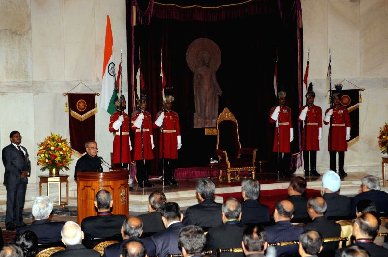 President Pranab Mukherjee addresses the delegates of Sixth Annual Heads of Mission Conference, at Rashtrapati Bhavan, in New Delhi on Feb 8, 2015. - Pranab Mukherjee