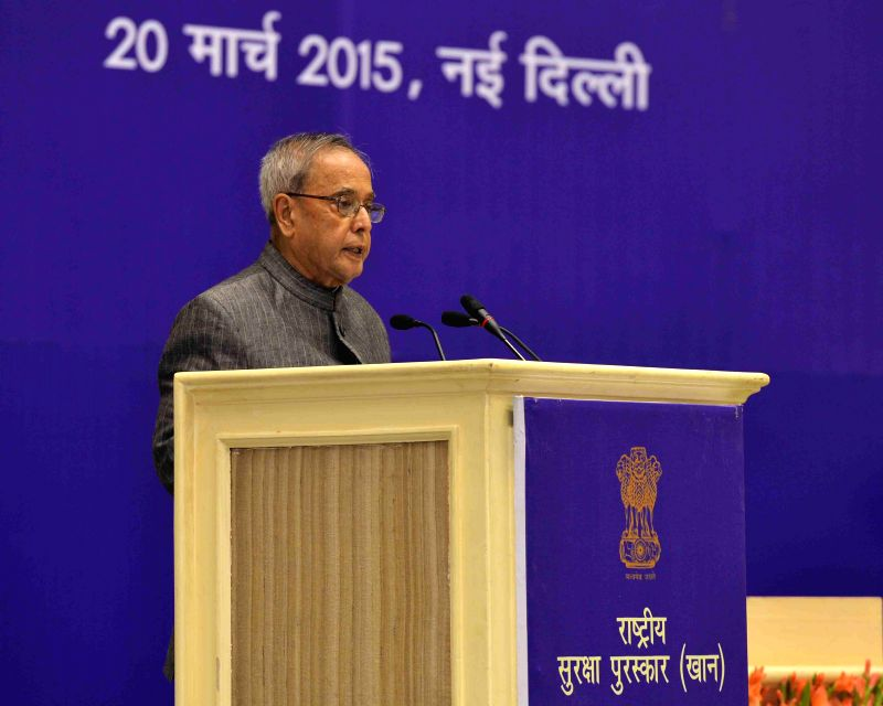 President Pranab Mukherjee addresses during the presentation ceremony of the National Safety Awards (Mines) for the years 2011 and 2012 in New Delhi on March 20, 2015. - Pranab Mukherjee