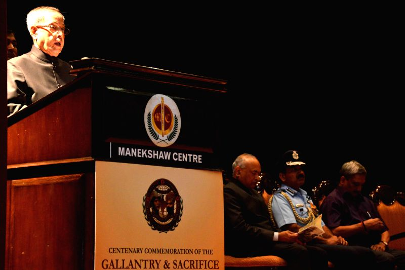 President Pranab Mukherjee addresses at the inauguration of the commemorative exhibition on the theme `India & world War - I`, at Manekahaw Centre, in New Delhi on March 10, 2015. - Pranab Mukherjee