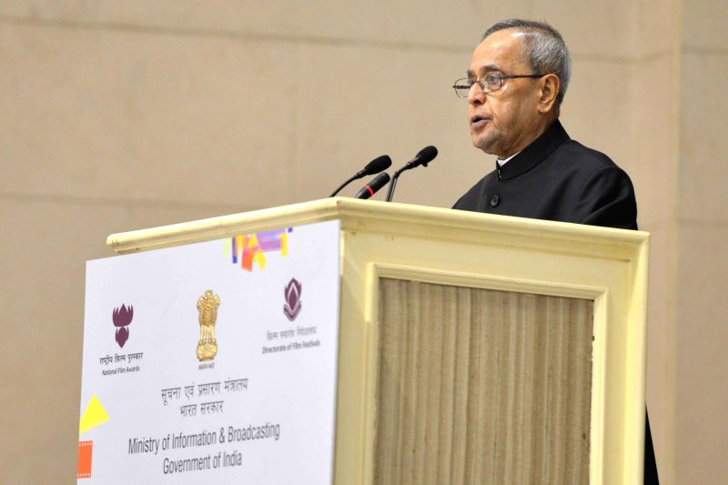 President Pranab Mukherjee addresses at Vigyan Bhavan in New Delhi, on May 3, 2015. - Pranab Mukherjee