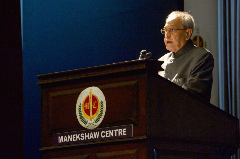 :New Delhi: President Pranab Mukherjee addresses the Cavalry Memorial Lecture, organised by the Indian Cavalry Association, in New Delhi on Nov 18, 2015. (Photo: IANS/RB). - Pranab Mukherjee