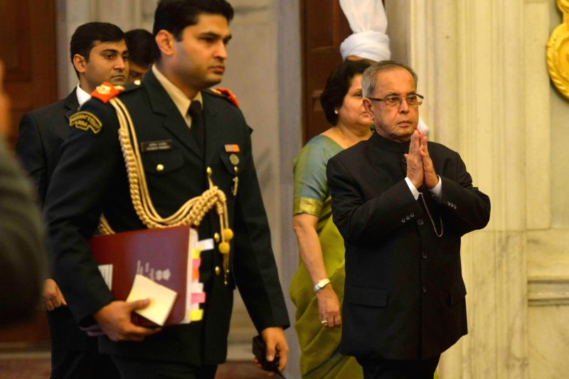 President Pranab Mukherjee arrives at the Conference of Governors at Rashtrapati Bhavan, in New Delhi on February 12, 2015. - Pranab Mukherjee