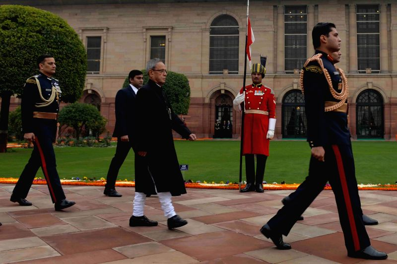 President Pranab Mukherjee arrives to attend the `At Home` function organised on Republic Day at Rashtrapati Bhawan in New Delhi, on Jan 26, 2015. - Pranab Mukherjee