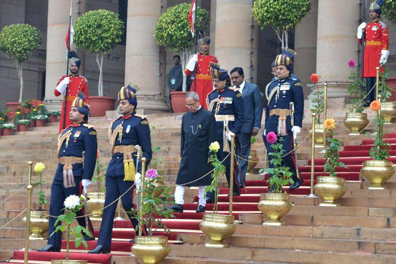 President Pranab Mukherjee at the forecourt of Rashtrapati Bhawan ahead  Republic Day celebrations in New Delhi, on Jan 26, 2015. - Pranab Mukherjee
