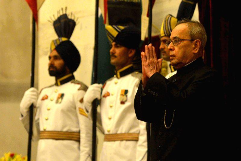 President Pranab Mukherjee at the Defence Investiture Ceremony–II, at Rashtrapati Bhavan, in New Delhi on April 26, 2015. - Pranab Mukherjee