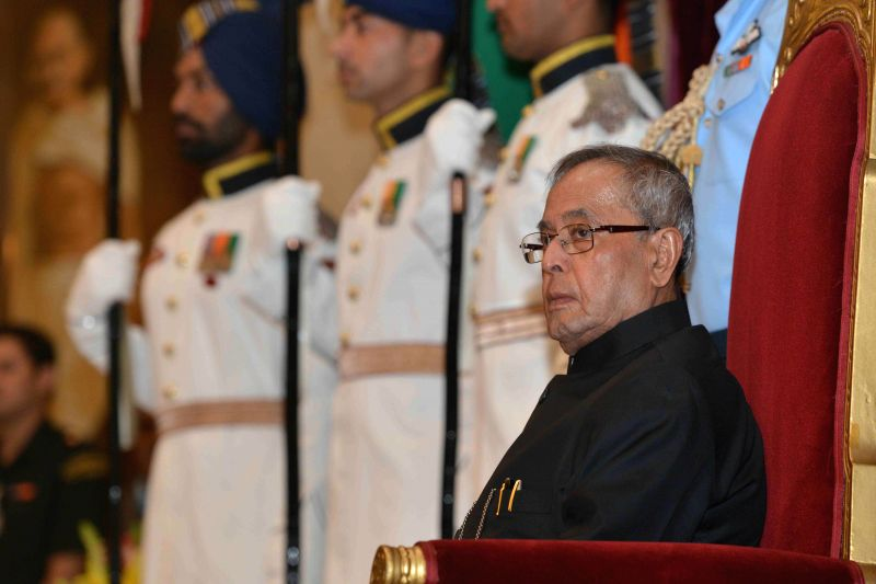 President Pranab Mukherjee during Indira Gandhi National Service Awards 2013-14 at Rashtrapati Bhavan, in New Delhi on Nov 19, 2014. - Pranab Mukherjee