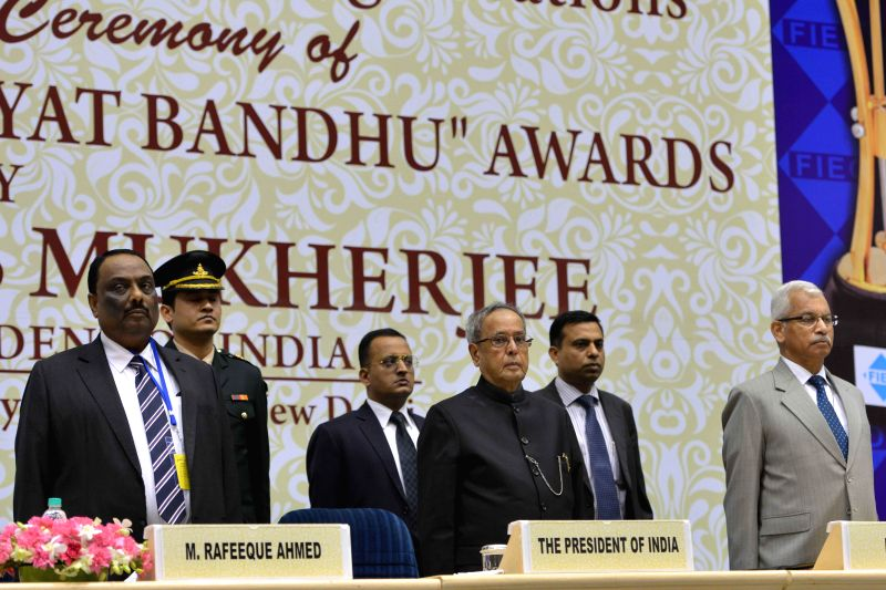 President Pranab Mukherjee during a programme organised to present `Niryat Shree` and `Niryat Bandhu` Awards for the year 2010-11 in New Delhi, on Dec 1, 2014. - Pranab Mukherjee