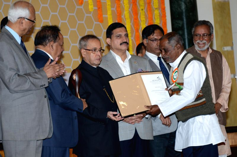 President Pranab Mukherjee during a programme organised to present the 8th National Biennial Award for Grassroots Innovations and outstanding Traditional Knowledge at the Ceremonial Hall ... - Pranab Mukherjee