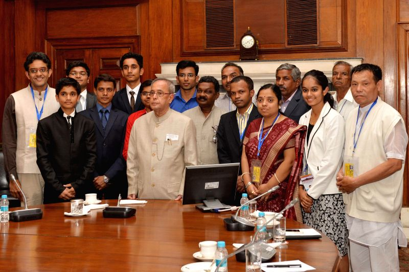 President Pranab Mukherjee during a meeting with the Second Batch of Innovation Scholars and the writers and the artists participating in  In-Residence Programme at Rashtrapati Bhavan in ... - Pranab Mukherjee