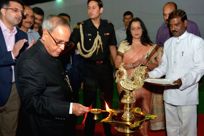 President Pranab Mukherjee during a programme organised to inaugurate a Food Festival at the President's estate on Baisakhi in New Delhi, on April 14, 2015. - Pranab Mukherjee