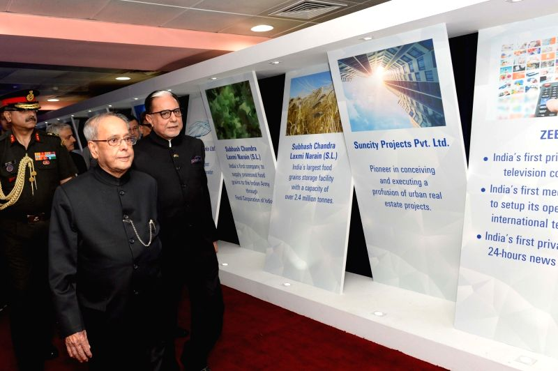 New Delhi:President Pranab Mukherjee during a programme organised to celebrate 90th anniversary celebration of Essel Group at Indira Gandhi Indoor Stadium in New Delhi on May 14, 2017. Also seen ... - Pranab Mukherjee