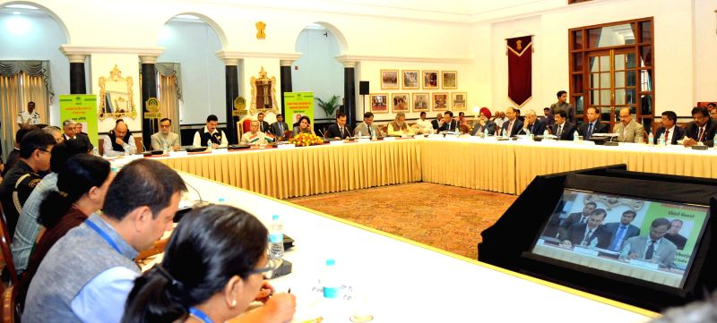 President Pranab Mukherjee interacts with the leaders of Banking and Financial Sector on the Consultation and Policy Dialogue About Financing Innovation by the NABARD, in New Delhi on ...