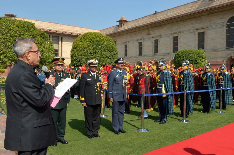 President Pranab Mukherjee meeting with the personnel of Tri Service Band Contingents (participants of the Beating Retreat Ceremony) and Provost Outriders of the Three Services, at ... - Pranab Mukherjee