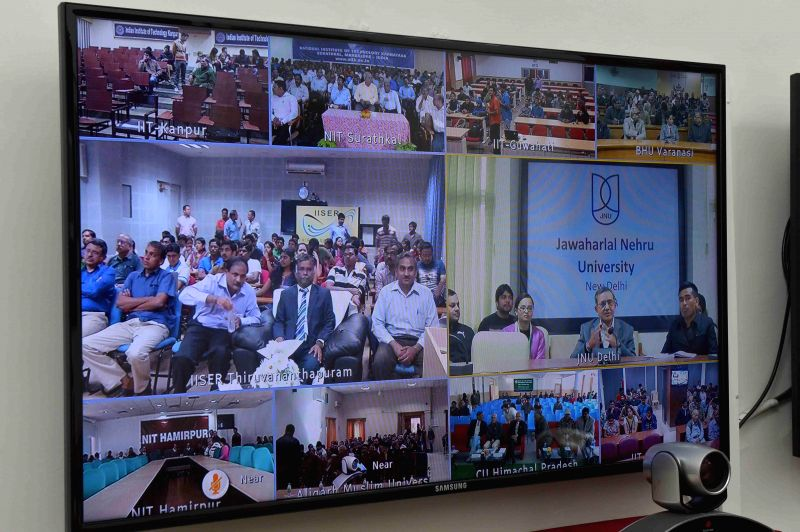 President Pranab Mukherjee (not in picture) uses National Knowledge Network to deliver his New Year Message on the topic `Parliament and Policymaking` to Central Universities, IITs, NITs ..