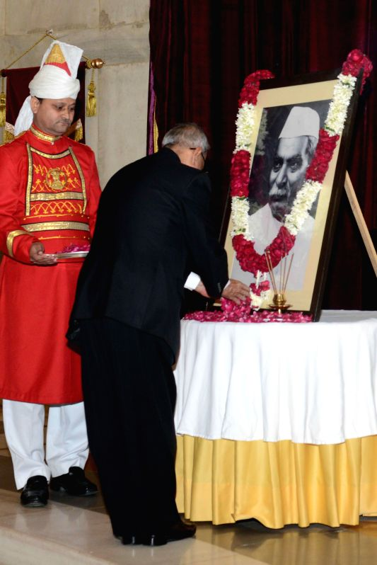 President Pranab Mukherjee pays tribute to the first President of India Dr. Rajendra Prasad on his birth anniversary at Rashtrapati Bhavan in New Delhi, on Dec 3, 2014. - Pranab Mukherjee