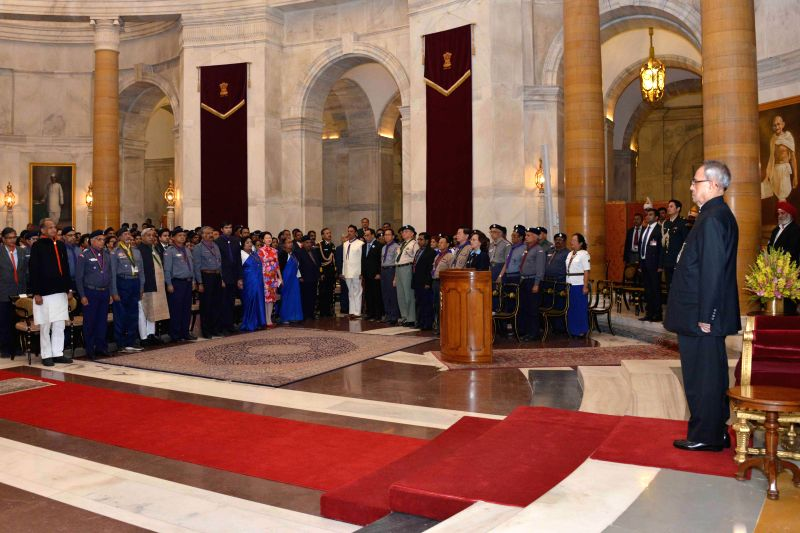 President Pranab Mukherjee presents Rashtrapati Scouts and Guides Awards certificates for the year 2013 at the presentation of the Rashtrapati Scouts and Guides Awards for the year-2013, .. - Pranab Mukherjee